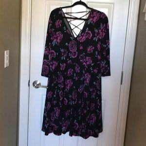 Plus Size - Torrid - Floral Midi/ Skater Dress